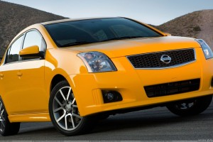 2008 Nissan Sentra SE R Side Front Pose In Yellow