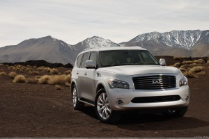 2011 Infiniti QX56 Front Pose In White Near Hills