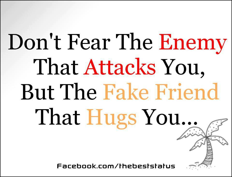Friendship Quotes – fear the enemy that attacks you but the fake friend that hugs you