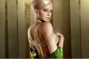 3D Girl  Pose In Wooden Background Grenn Dress