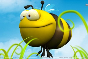 3D Yellow Bee and Grass