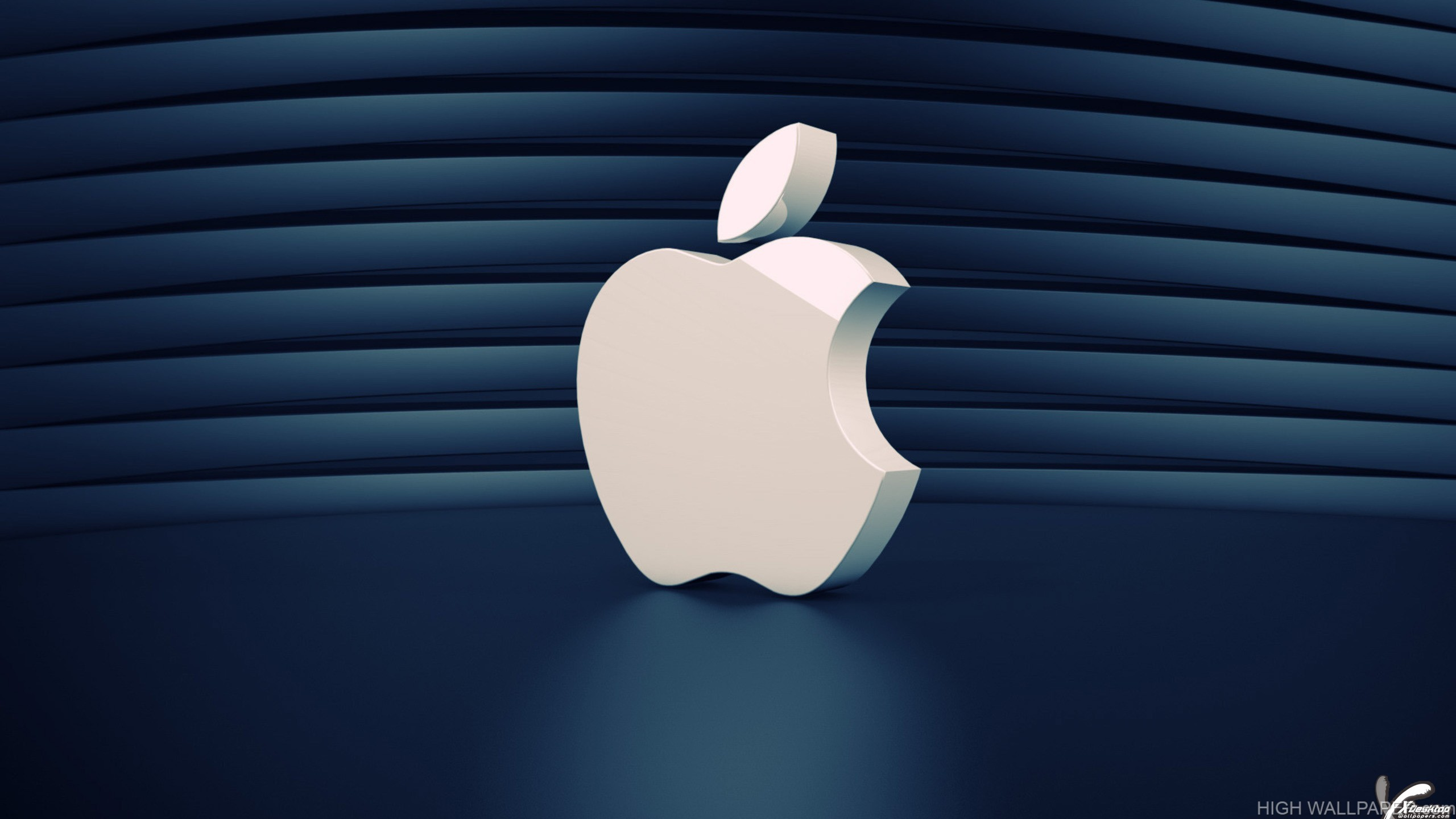 A Beautiful White 3D Apple Logo