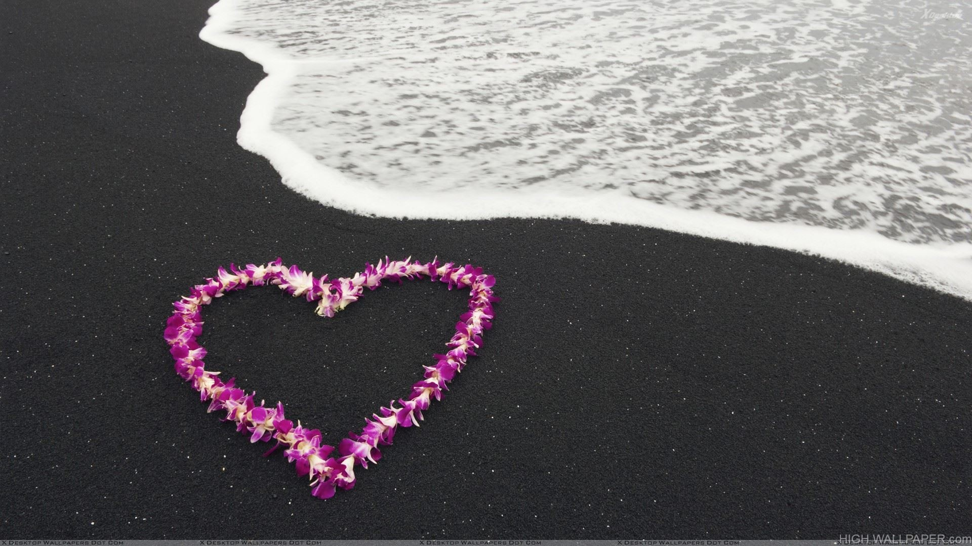 A Heart Made Of Flowers At Sea Side