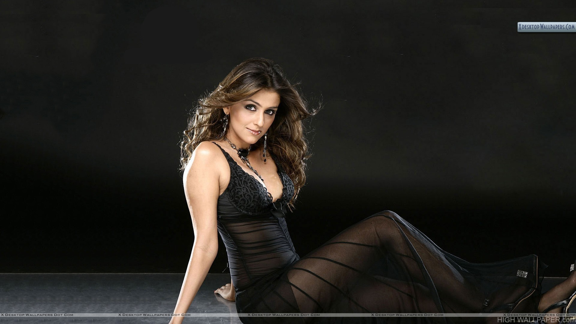 Aarti Chhabria Sexy Looking in Black Transparent Dress