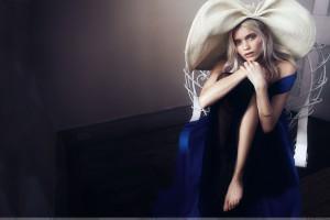 Abbey Lee Kershaw   Sitting In Blue Dress