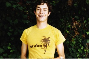 Adam Brody Laughing In Yellow T Shirt
