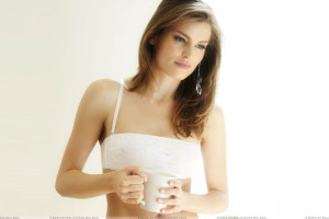 Adela Capova Thinking And Coffee Mug In Hand Photoshoot
