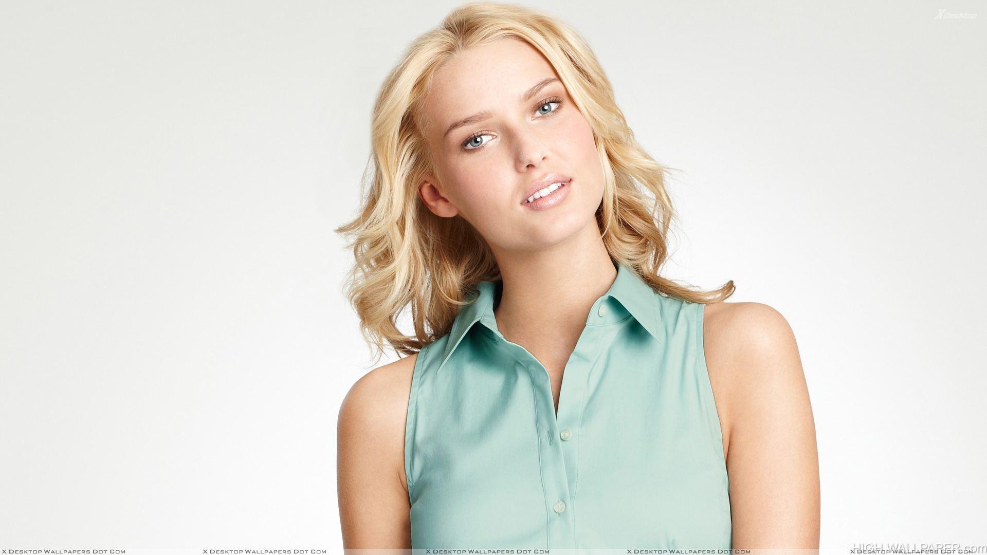Adriana Cernanova In Blue Top N Golden Hairs