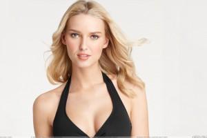 Adriana Cernanova In Golden Hairs N Black Dress