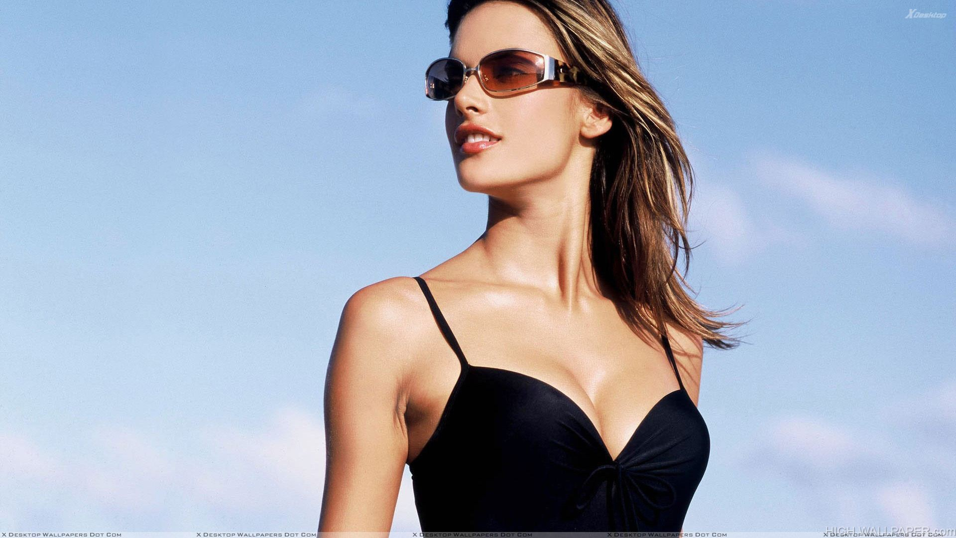 Alessandra Ambrosio Smiling Red Lips In Black Dress Side Pose