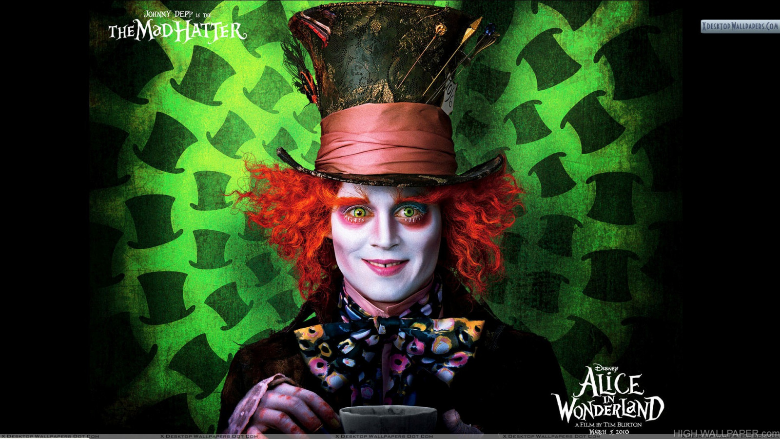 alice in wonderland johnny depp smiling hd wallpaper