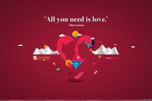 All You Need Is Love On Pink Background