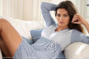 Alyssa Miller Sitting Pose in Grey Blue Dress