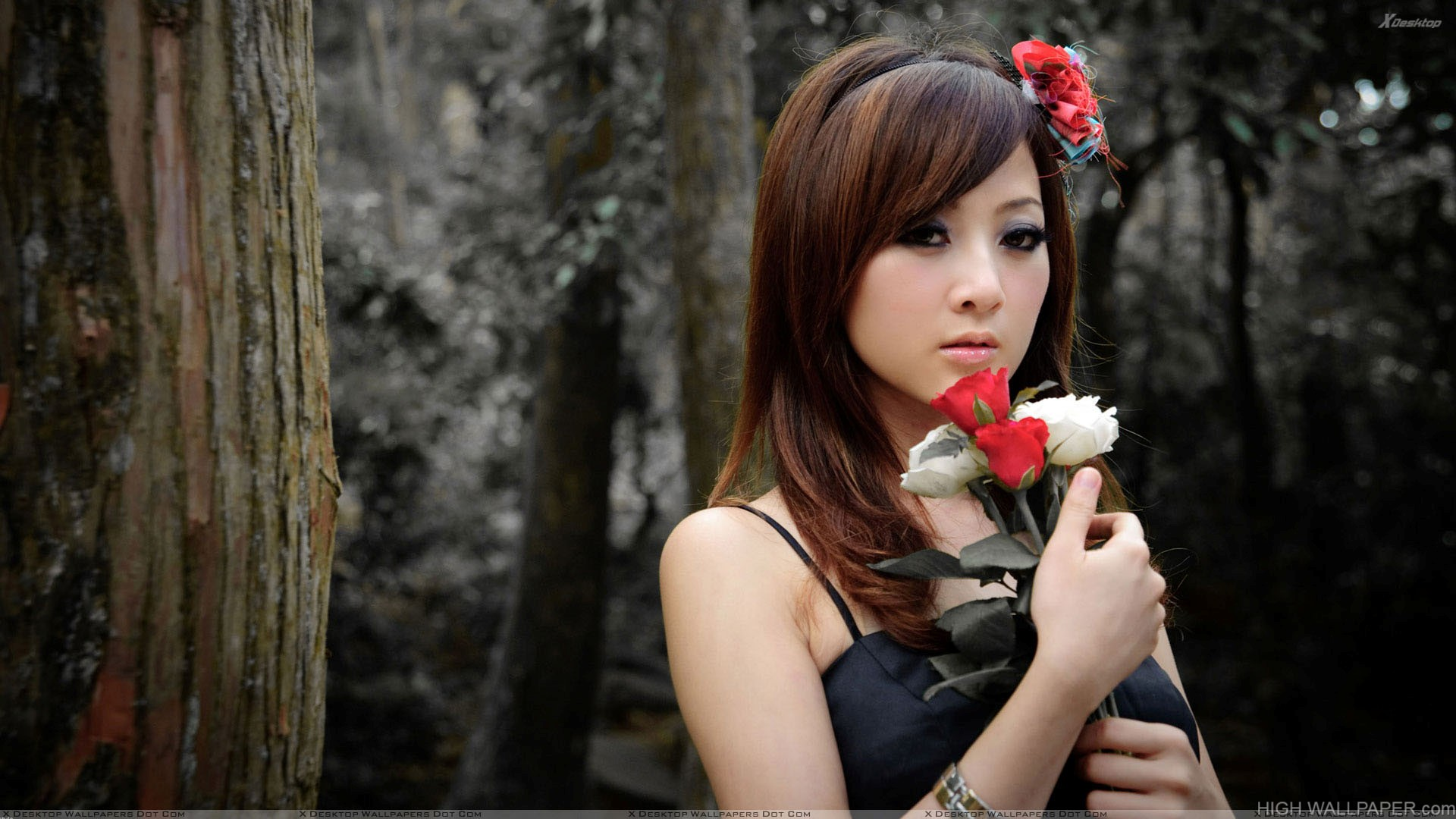 Asian Girl With Red And White Roses in Forest