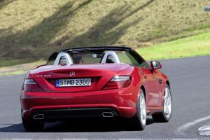 Back Pose of Red Mercedes Benz SLK 350 On Highway