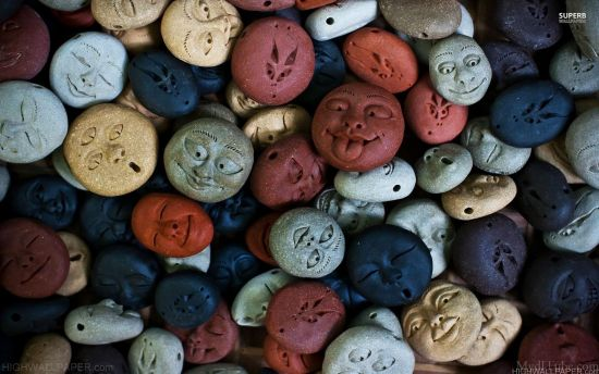 Colorful Carved Smiley Faces