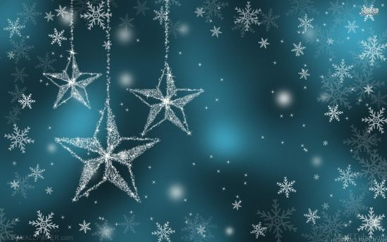 White stars in blue background
