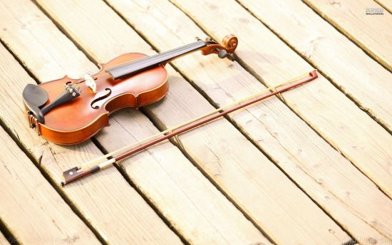 violin on wooden floor