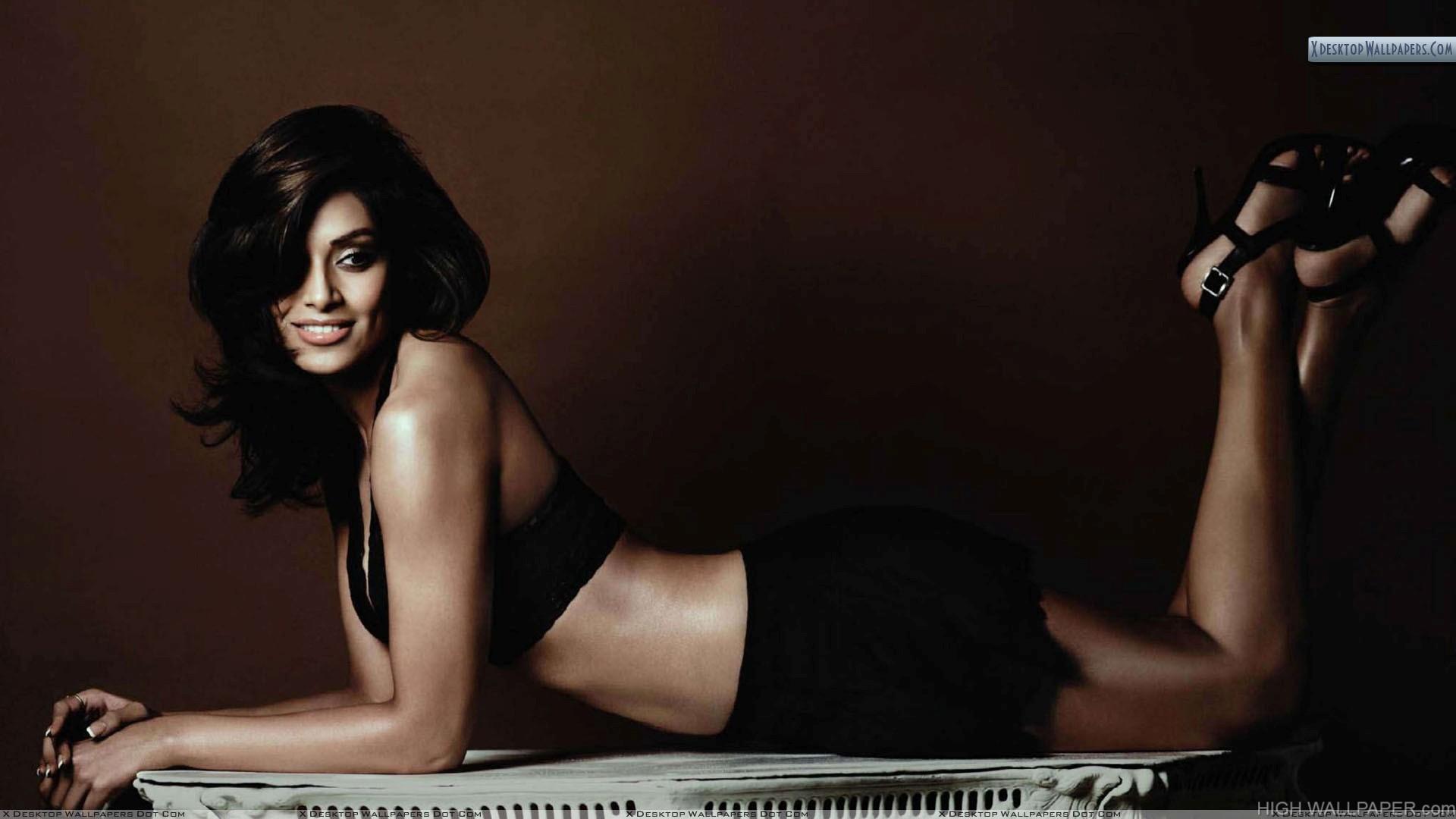 Bipasha Basu Laying Pose In Black Dress