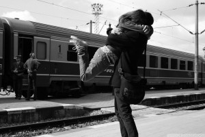 Boy Liftup Girl on Railway Station