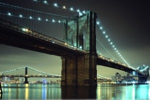 Brooklyn Bridge New York City Evening Scene