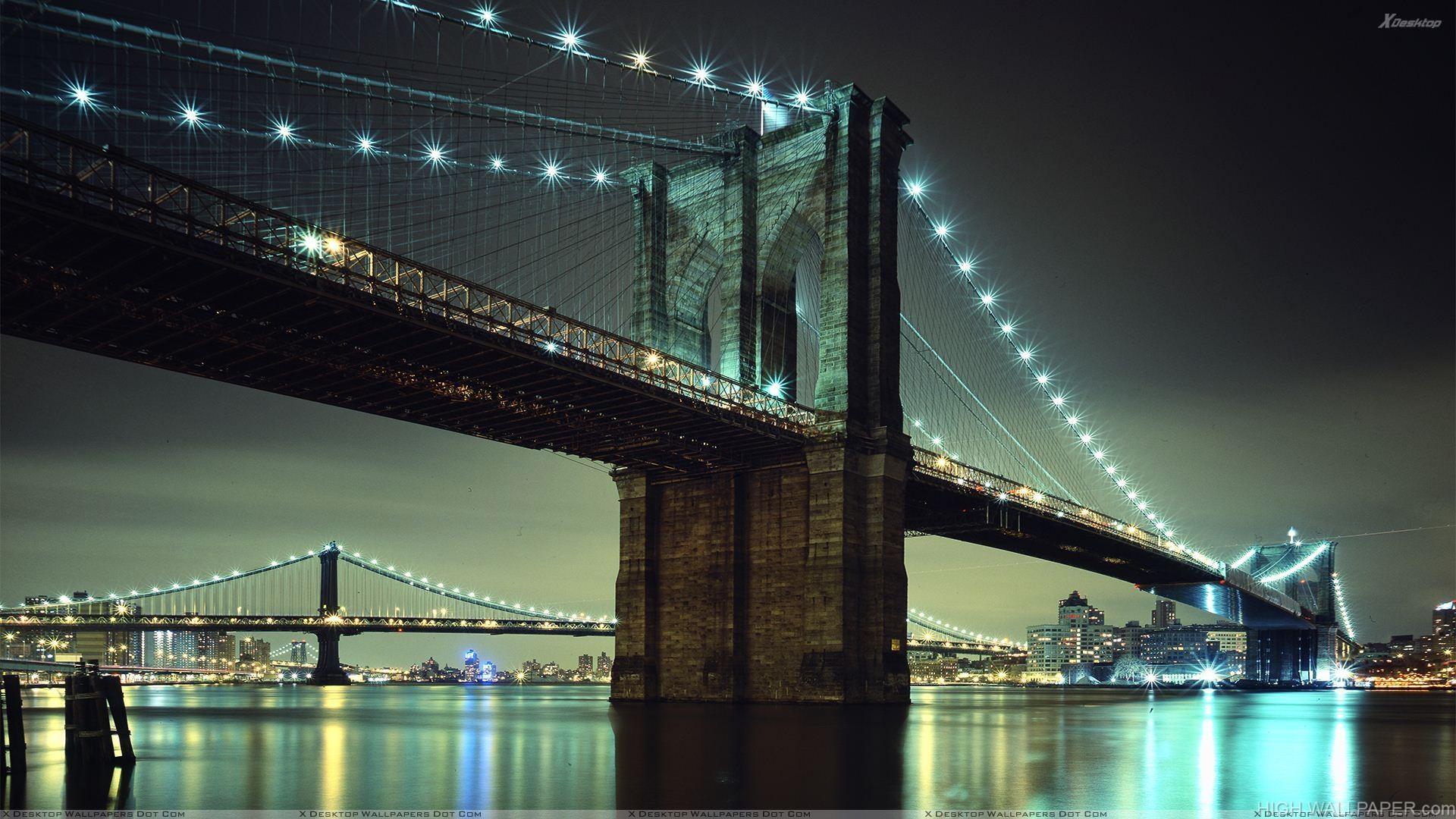 Brooklyn Bridge New York City Evening Scene