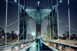 Brooklyn Bridge Walkway Showing In Evening
