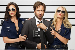 Californication   David Duchovny with Two Police Girls in Black Coat