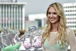 Candice Swanepoel In Transparent Dress At Victoria's Secret Swim Collection