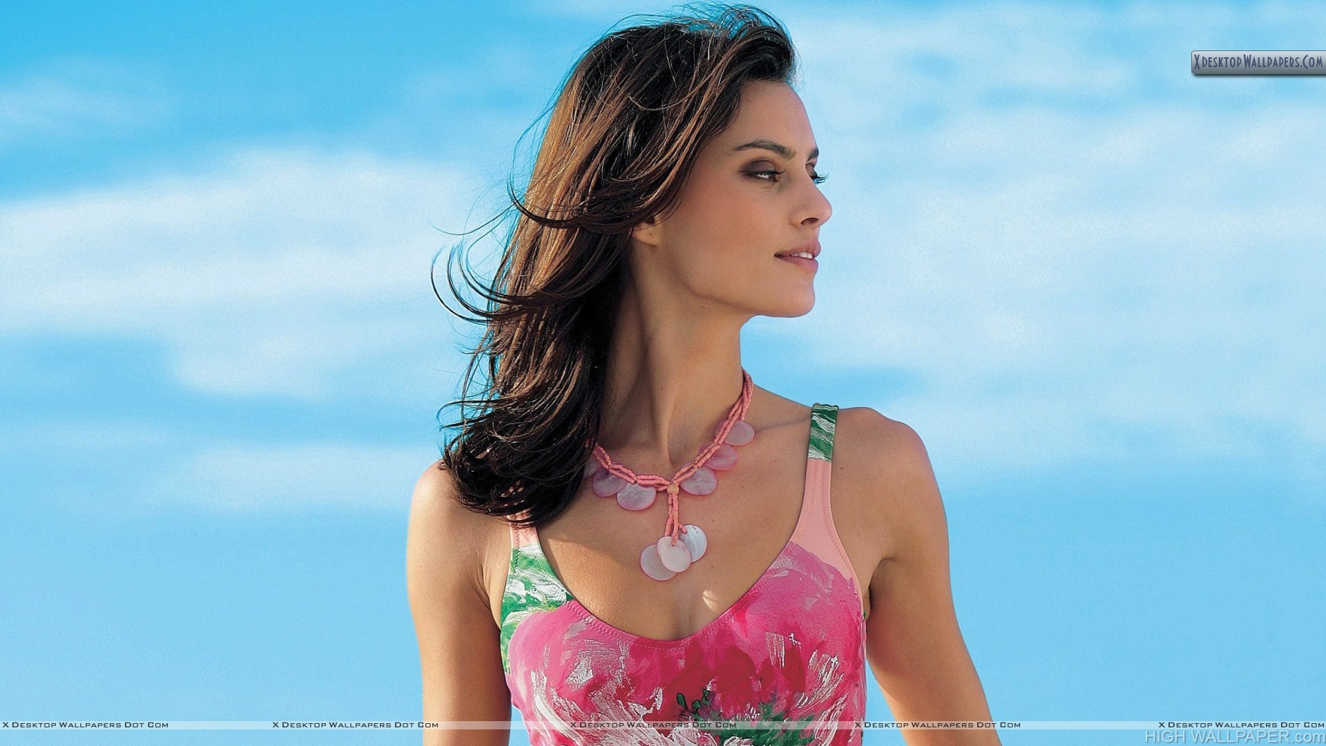 Catrinel Menghia Side Smiling Face In Pink Dress