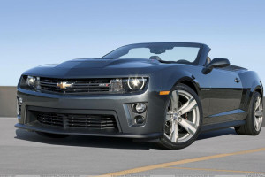 Chevrolet Camaro ZL1 Convertible HeadLights On In Grey