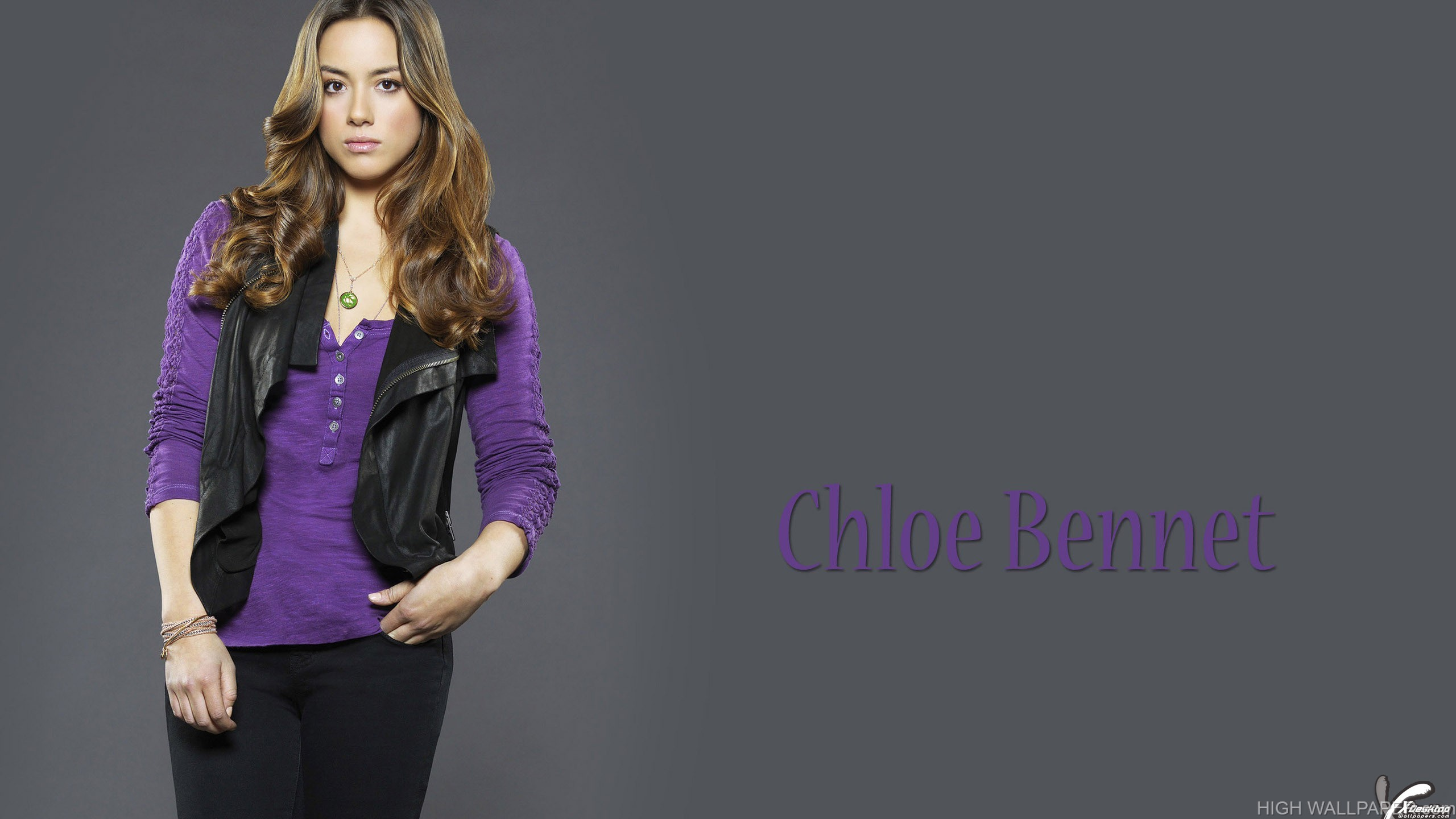 Chloe Bennet In Purple Top Black Jacket Black Jeans