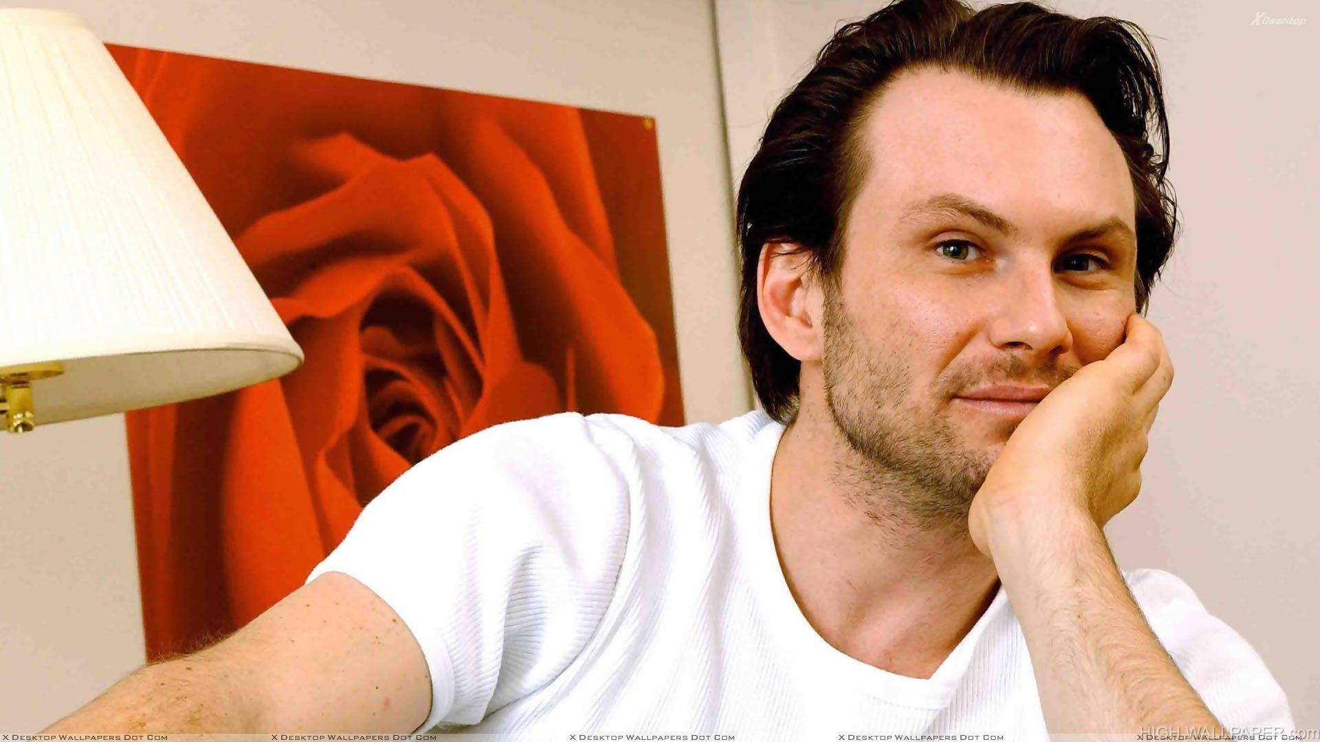 Christian Slater Looking At Camera In White T Shirt
