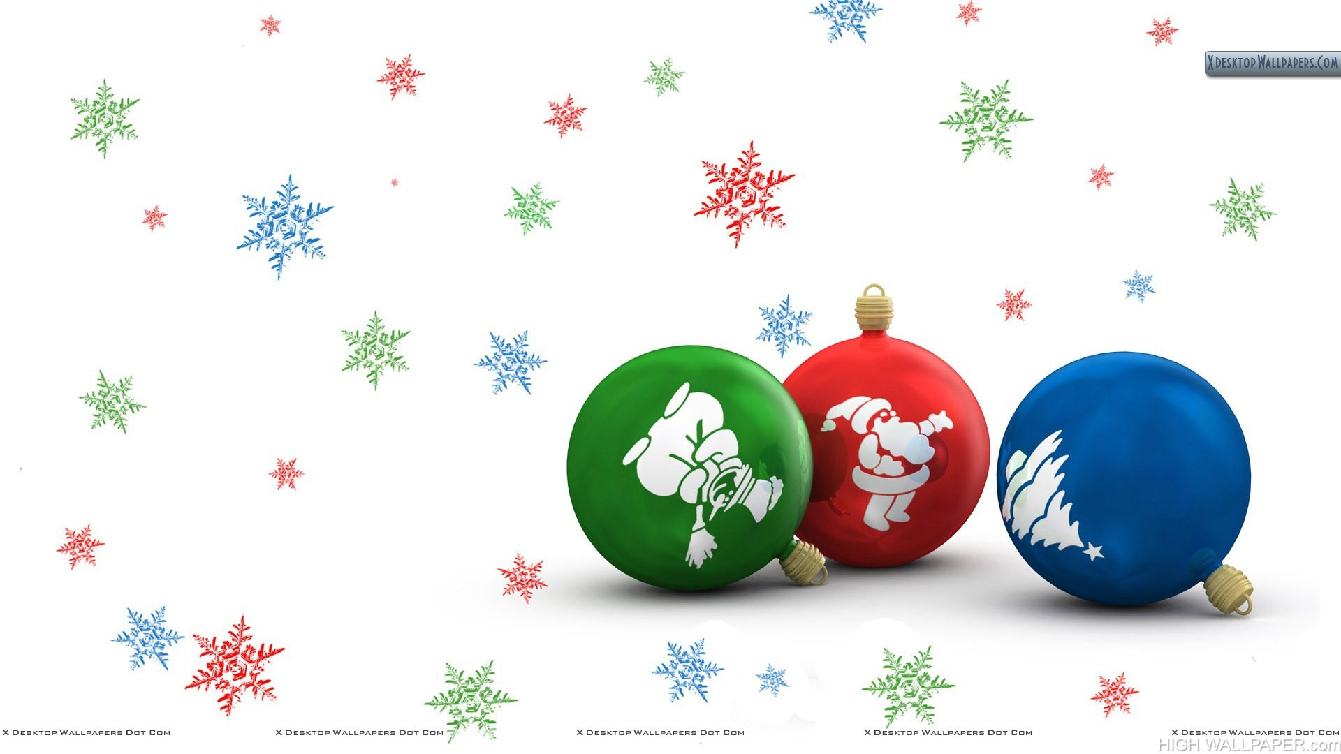 Christmas Bulbs With White Decorated Background