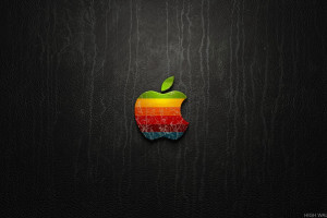 Coloful Apple Logo On Black Background