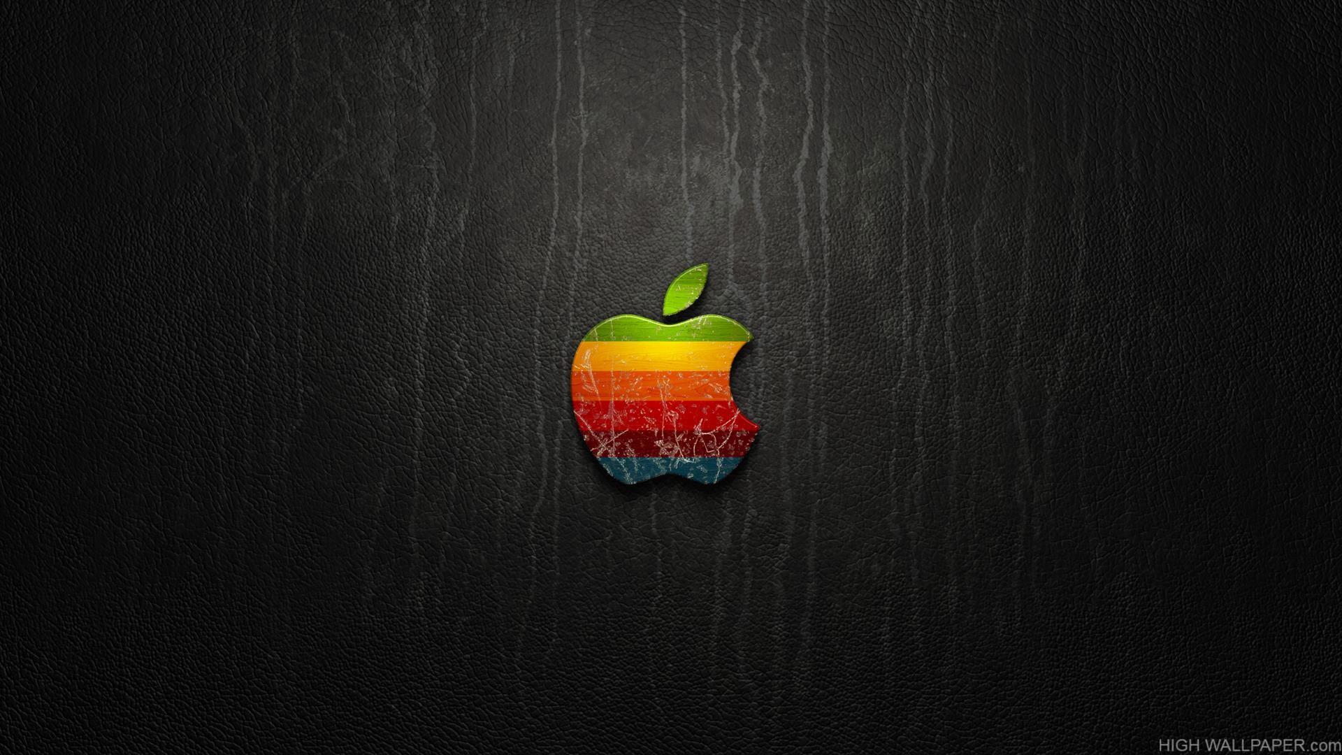 Coloful Apple Logo On Black Background
