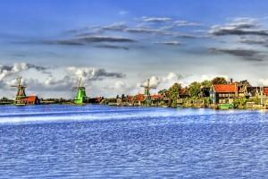Colorful Windmill on sea