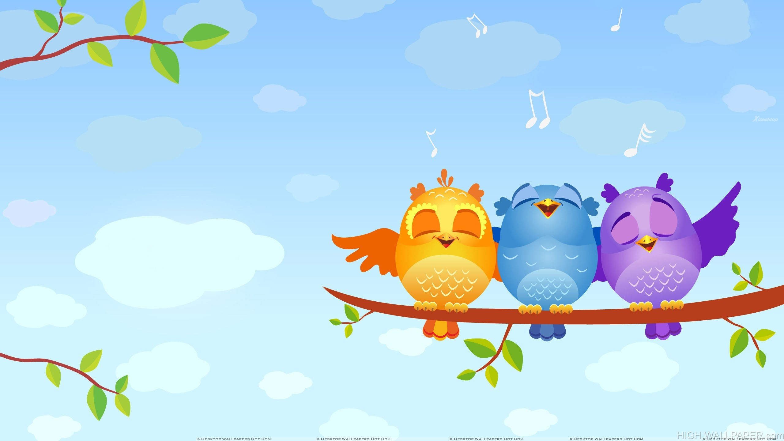 Colourful Birds Sitting On A Tree Branch And Singing