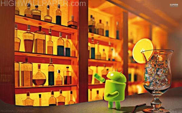 Android in bar with glass-602x376