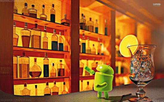 Android in bar with glass
