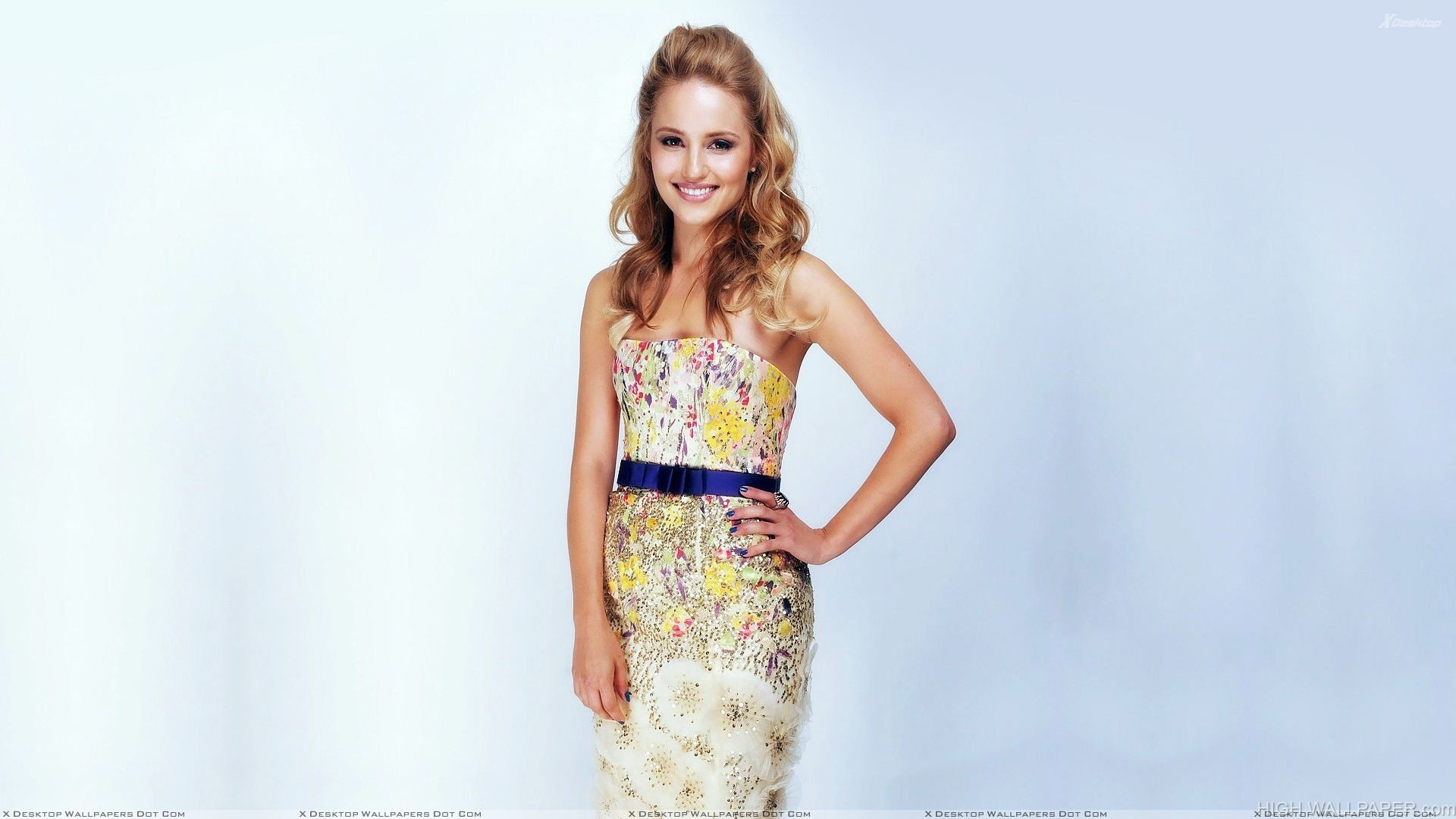 Dianna Agron Smiling In Colorfull Dress