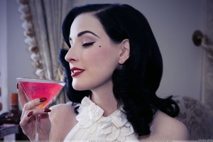 Dita Von Teese Drinking Pink Juice And Red Lips