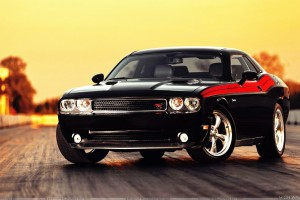 Dodge Challenger In Black Front Pose