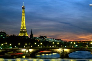 Eiffel Tower and the Seine River at Night Paris France