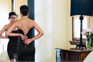 Emmanuelle Chriqui Front Of Miror In Black Dress