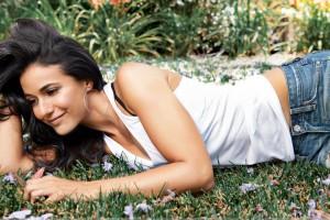 Emmanuelle Chriqui Smiling In White Top N Blue Jeans