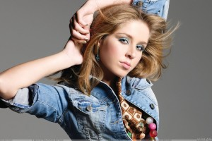 Esmee Denters Cute Eyes In Blue Jacket Photoshoot