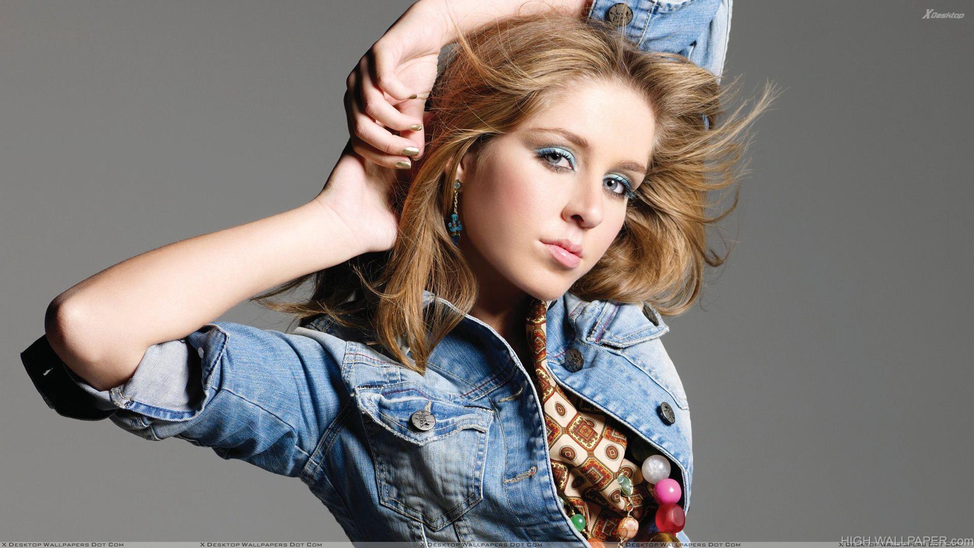 Esmee Denters Cute Eyes In Blue Jacket Photoshoot