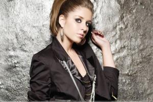 Esmee Denters Looking Front In Black Dress N Side Pose