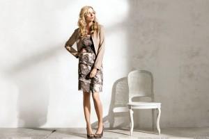 Eva Padberg Modeling Pose In Brown Dress